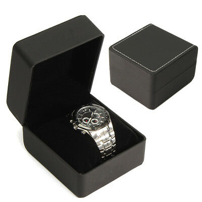 Luxury Watch Box Jewellry Gift Leather Case Box with Velvet Cushion Pillow Black