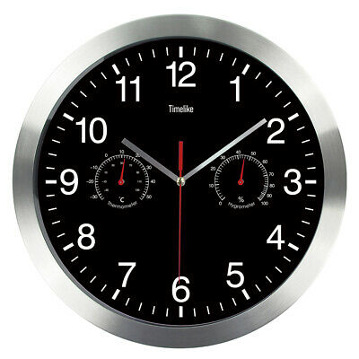 Metal Super Silent Large Wall Clock Quartz Temperature Humidity Display Kitchen