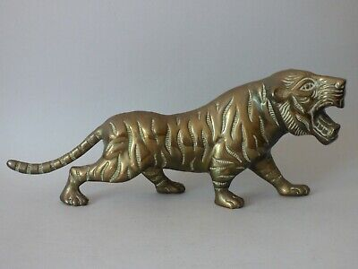 Heavy Collectable Vintage Brass Wild Animal Asian Oriental Tiger 1.3Kg Free Uk