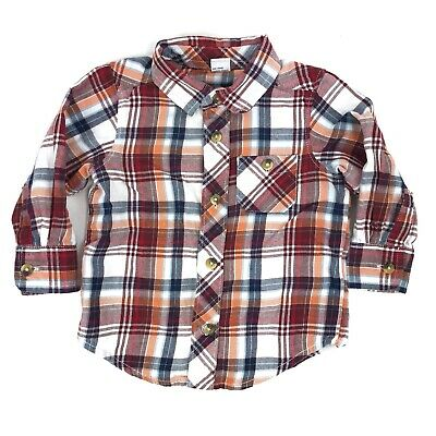 Old Navy Toddler Boy Button Front Plaid Flannel Shirt 12-18 Months