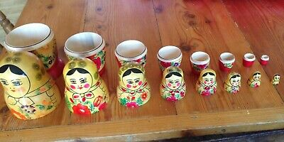 Russian Stacking Dolls Nesting Set Of 9  Matryoshka (MADE IN USSR) Used