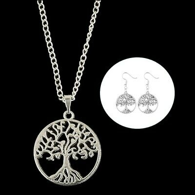 Tree of Life Earring & Necklace Set Silver Plated Pendant Pagan Wicca Gothic
