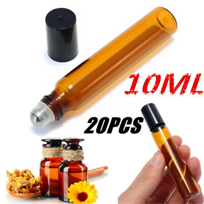 20x 10ml Roller Rollerball Perfume Essential Oil Roll On Ball Amber Glass