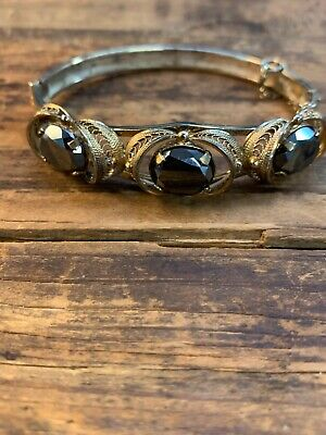 Sorrento Sterling Silver Gold Wash Hematite Filigree Wire Work Bangle Bracelet