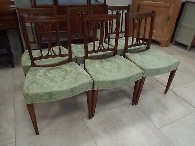 Set of Six Antique Edwardian Mahogany & Inlaid Dining Chairs