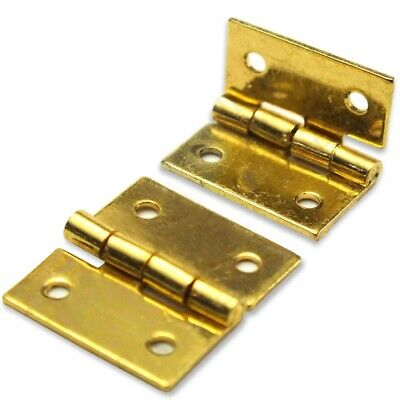 """2x MINI BUTT HINGES 25mm Solid Brass 1/"""" Cabinet Dresser Chest Door Doll House"""