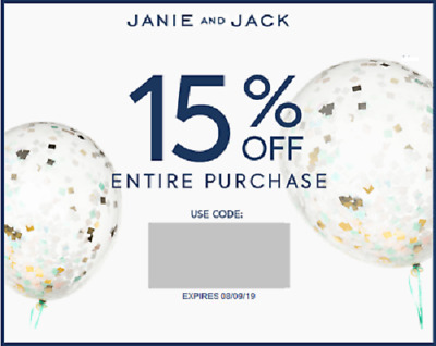 Janie and Jack 15% (NOT 20%) off Coupon - Exp 08/31/2019 - IMMEDIATE DELIVERY!