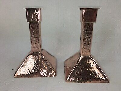 Antique 'ARTS & CRAFTS' Copper Hammered Candlesticks (Pair)