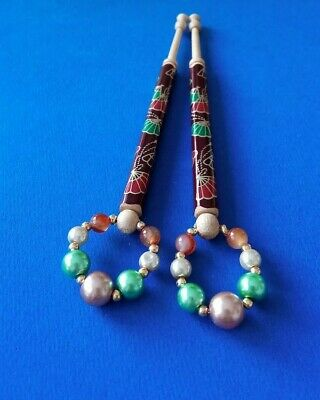 Pair Wood Lace Bobbins Painted with Hand Fans, Green & Orange. Spangles.