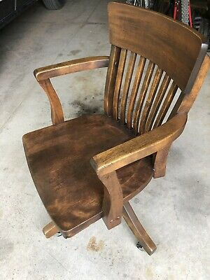 Antique Swivel adjustable Oak WOOD OFFICE desk CHAIR lawyer Vintage Captain
