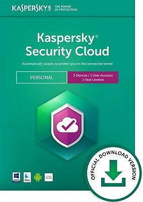Kaspersky Security Cloud - Personnel 3 Appareils 1 An PC/Mac / Ios