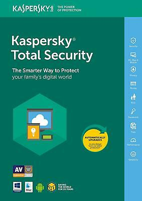 Kaspersky Total Security 2019 3 Dispositivi 1 Anno PC/Mac / Android Download
