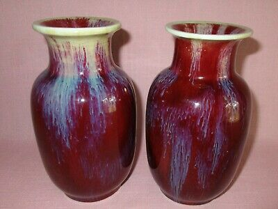 Antique 19th C Chinese Porcelain Red Flambe Oxblood San De Bouef Pair of Vases