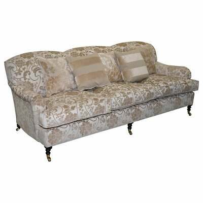 Rrp £12,000 George Smith Scroll Arm Three Seater Sofa Paisley Upholstery Fabric