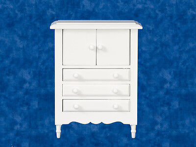 White Cabinet With Drawers, Dolls House Miniature, 1:12 Scale Furniture