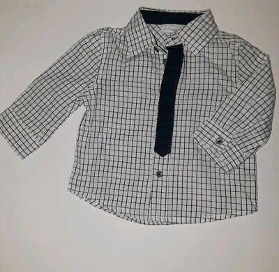 First Impressions baby boys shirt long sleeve plaid checks size 6-9 month