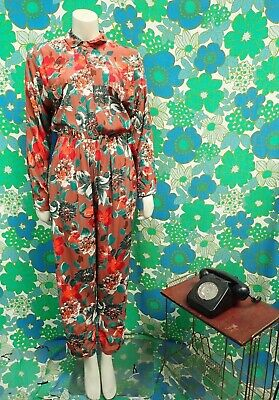 Y9 Vintage 1980's Jumpsuit Playsuit Size 8 10 Pockets Brown Floral