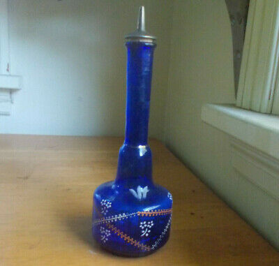 1880s ORIGINAL PONTILED COBALT BARBER BOTTLE HAND PAINTED FLOWERS WITH STOPPER