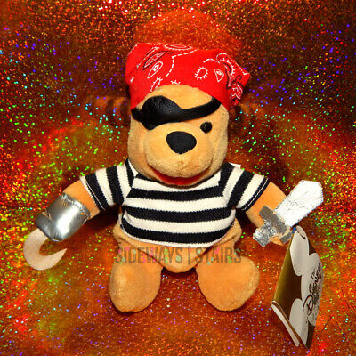 POOH PIRATE PLUSH W/ TAG rare retired sword hook halloween costume Disney Store