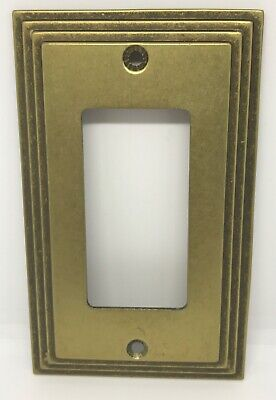 Vintage MCM Art Deco Amertac 84R Carriage House Brass Rocker Switch Plate Cover