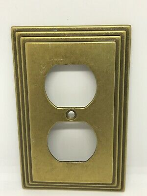 Vintage MCM Art Deco Amertac 84D Carriage House Brass Outlet Switch Plate Cover