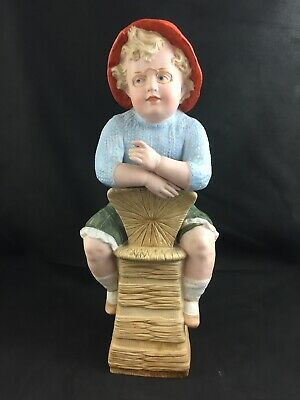 "🔷 Antique Piano Baby German Heubach Bisque BOY ON CHAIR 14"" Figurine - Damaged"