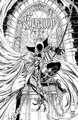 SPAWN 300 COVER N J SCOTT CAMPBELL B&W VARIANT NM TODD McFARLANE