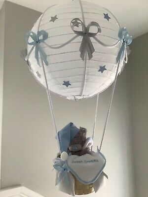 Hot Air Balloon nursery Lamp/light shade. Blue / silver grey. made to order