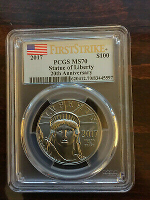 2017 $100 American Platinum Eagle PCGS MS70 First Strike Statue of Liberty Label