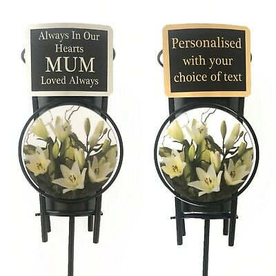 White Lily Memorial Flower Vase & Personalised Plaque Grave Custom Spike Pot