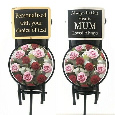 Pink Roses Memorial Flower Vase & Personalised Plaque Grave Tribute Spike & Pot