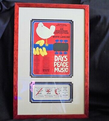 WOODSTOCK Professionally Framed 3 Day Unused Ticket W/ Miniaturized Poster!