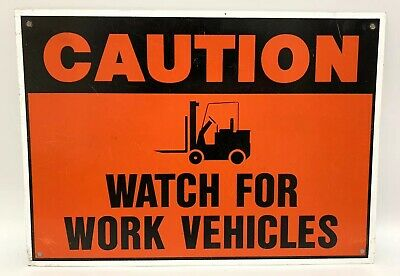 """Warning Caution Work Vehicles Safety Construction Metal Aluminum Sign 14"""" x 10"""""""