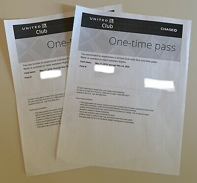Two (2) United Airlines Club Lounge One-Time Pass EXP 05/24/20