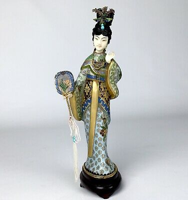 Early 20th Century Chinese Cloisonné Woman Figure With Gilt Sterling Silver.