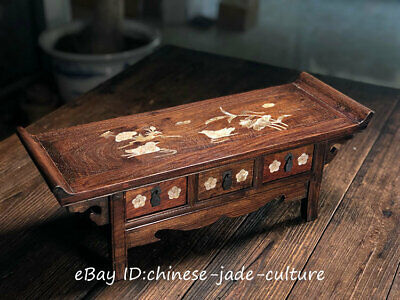 "21"" Chinese Huanghuali Wood Shell Bird Classical Furniture Dining Center Table"