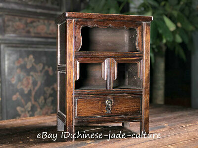 "16"" China Huanghuali Wood Drawer Buddha Shrines Cupboard Table Cabinet Desk"