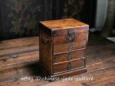"""10"""" China Huanghuali Wood Handwork Classical Drawer Table Desk Cupboard Cabinet"""