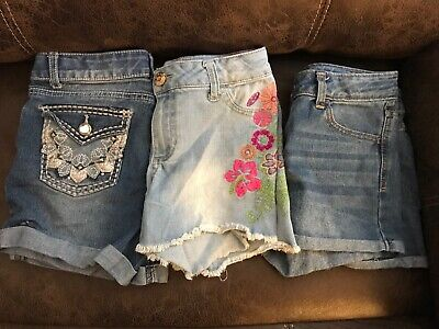Lot Of 3 Girls Blue Cherokee , Cat & Jack, Faded Glory Shorts Size: L10/12
