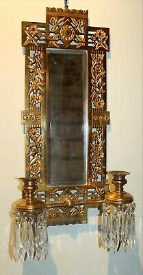Victorian Brass Mirrored Sconce Candle Chandelier Wall Fixture C.1880