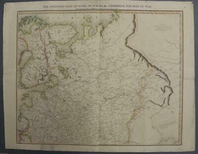 European Russia  1812 Laurie & Whittle Wall Antique Original Napoleonic War Map