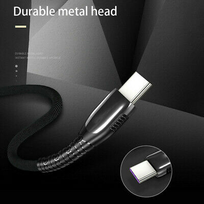 5A Braided Nylon Fast USB Type C Data Sync LED Charger Charging Cable For Huawei
