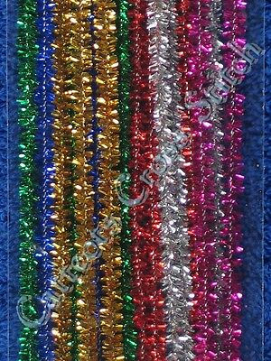 Pipe Cleaners Christmas Tinsel Chenille Sticks Darice Gold Green Red Blue Silver