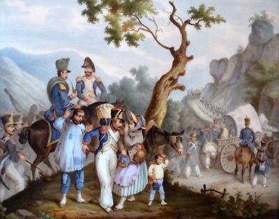 Napoleon Imperial Army In Campaign 19th century Painting On Porcelain