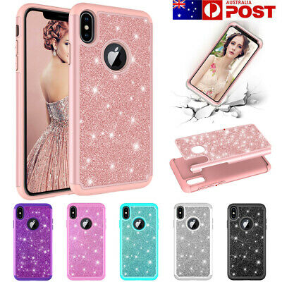 IPhone Xs Max XR 8 7 6 6S Plus Case,Bling Glitter Shockproof Hybrid Armor Cover