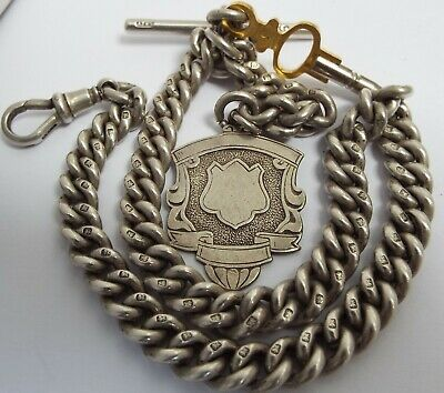 Fab Clean Heavy All Matching English Antique 1898 Sterling Silver Albert Chain