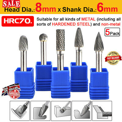 5Pcs 8mm Tungsten Carbide Point Burr Die Grinder Shank Rotary Drill Bits Set UK