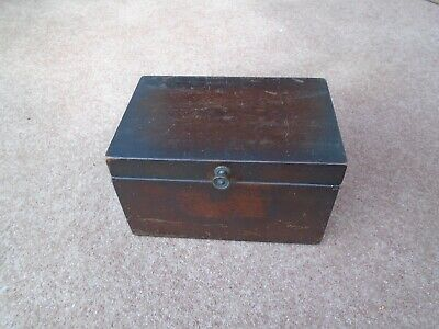 Antique Vintage Mahogany  Desk Top  Stationery Storage Box Sewing Box  Jewellery