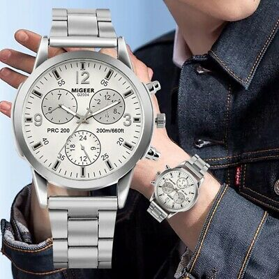 Classic Stainless Steel Band Quartz Mens Watch Analog Round Dial Luminous Hands
