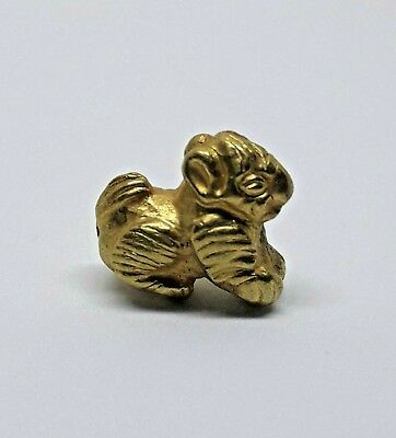 1.18g Ancient Unique amulet LION TIBETAN High carat Gold bead zoomorphic Rare!!